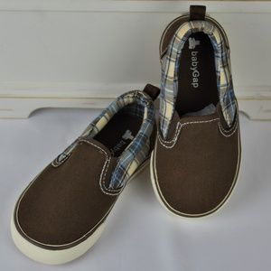Baby Gap Boys Brown Plaid Slip On Sneakers sz 8